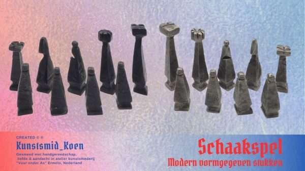 Modern gesmeed design Schaakspel