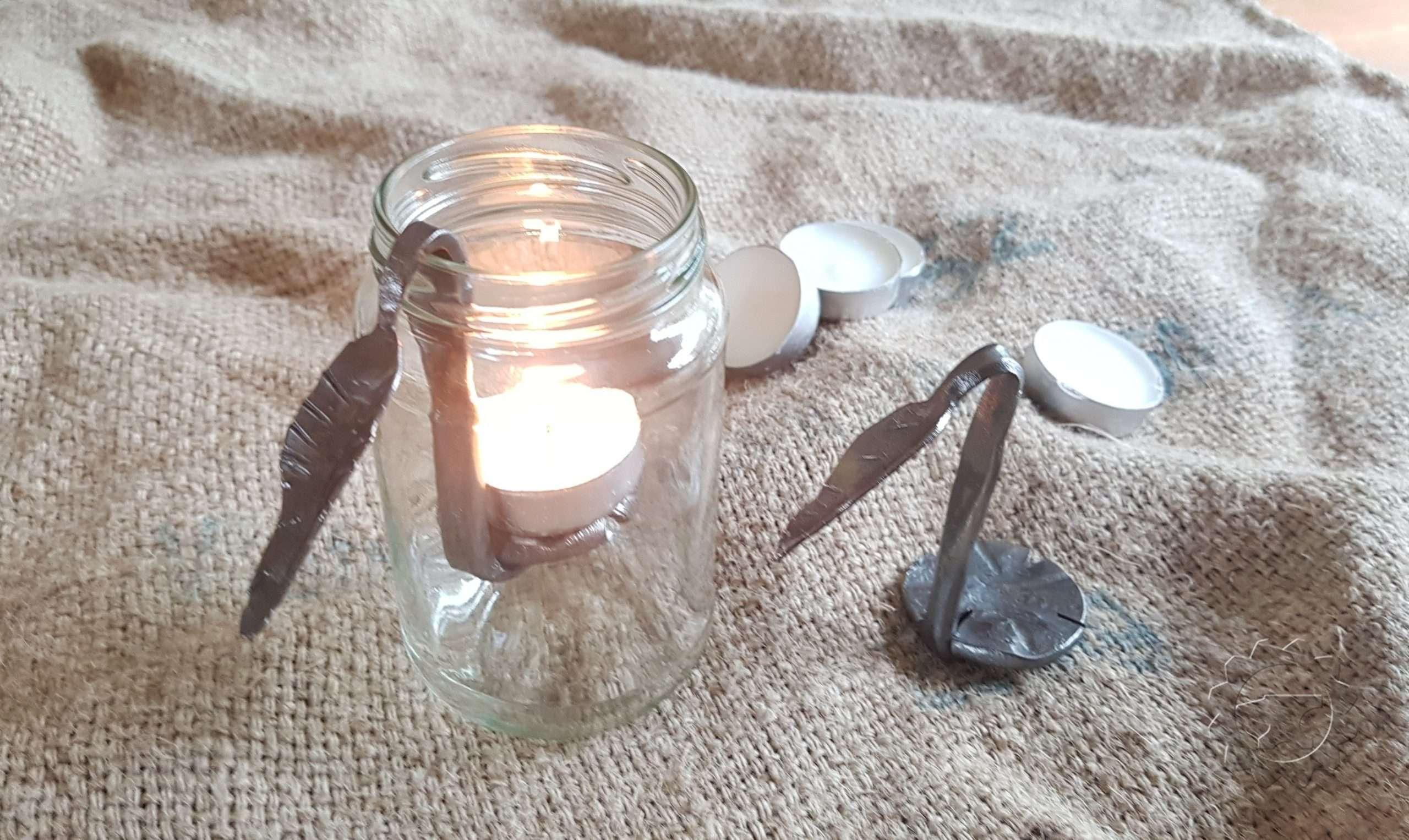 Glazen potje met Waxinelichtje houder